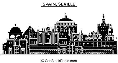 Spain, Seville architecture vector city skyline, travel...