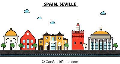 Spain, Seville. City skyline architecture, buildings,...