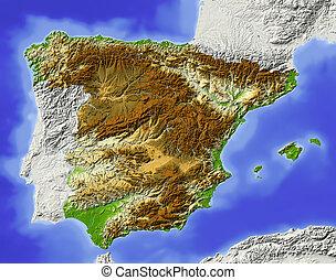 Spain, shaded relief map - Spain. Shaded relief map....