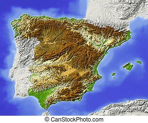 Spain. Shaded relief map. Surrounding territory greyed out. Colored according to elevation. Includes clip path for the state area. Projection: Mercator Extents: -10.4/5/35.5/44.8