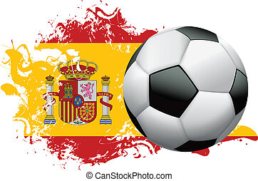 Spain Soccer Grunge Design - Soccer ball with a grunge flag...