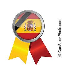 spain. spanish memorial ribbon flag illustration