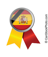 spain. spanish memorial ribbon flag illustration