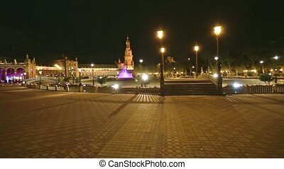 Spain Square in Seville - Frontal view of bridges and ...