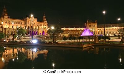 Spain Square Seville night - Renaissance building in Plaza ...