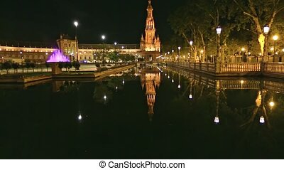 Spain Square Seville - Scenic panorama of Spain Square in ...