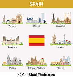 Spain. Symbols of cities. Vector set