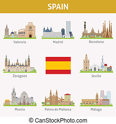 Spain. Symbols of cities. Vector set