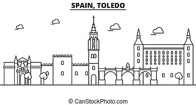 Spain, Toledo architecture line skyline illustration. Linear...