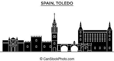 Spain, Toledo architecture vector city skyline, travel...