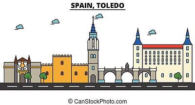 Spain, Toledo. City skyline architecture, buildings,...