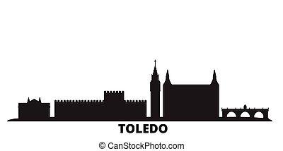 Spain, Toledo city skyline isolated vector illustration. Spain, Toledo travel cityscape with landmarks