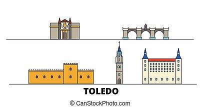 Spain, Toledo flat landmarks vector illustration. Spain,...