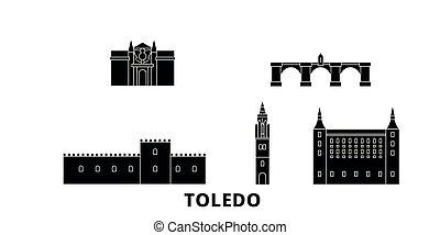 Spain, Toledo flat travel skyline set. Spain, Toledo black...