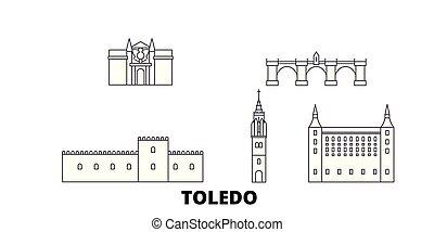 Spain, Toledo line travel skyline set. Spain, Toledo outline...