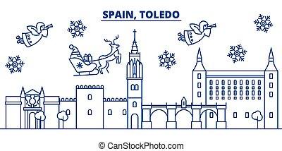Spain, Toledo winter city skyline. Merry Christmas, Happy...