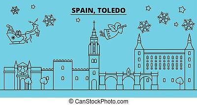 Spain, Toledo winter holidays skyline. Merry Christmas,...