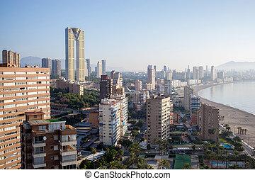 Spain, top view of the Benidorm