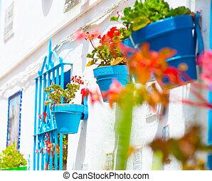 Spain, Torremolinos. Costa del Sol, Andalucia. Typical white...