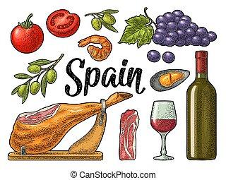 Spain traditional food set. Vector vintage color engraving