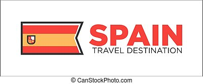 Spain travel destination banner - Vector illustration of...