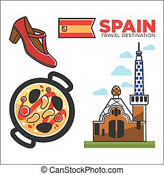 Spain travel destination promotional banner with customs...