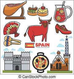 Spain travel destination promotional poster with customs...