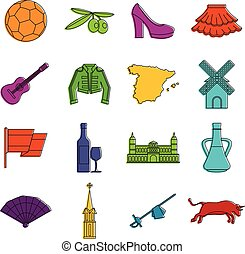 Spain travel icons doodle set