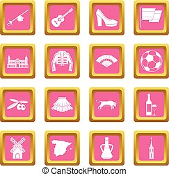 Spain travel icons pink