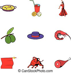 Spain travel icons set, cartoon style