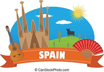 spain., turismo, e, viagem