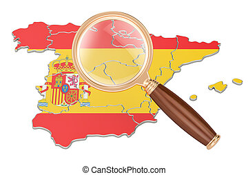 Spain under magnifying glass, analysis concept, 3D rendering