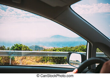 Spain. View Of Gibraltar From Car Window. Travel, Trip, Vacation. First Person View, FPV