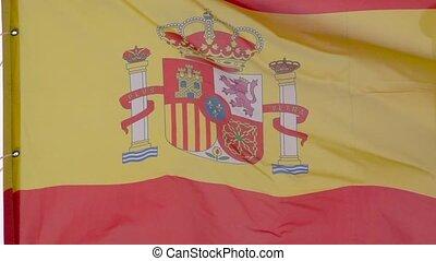 Spain waving flag in slow motion