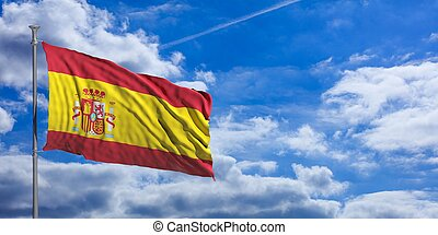 Spain waving flag on blue sky. 3d illustration