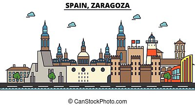 Spain, Zaragoza. City skyline architecture, buildings,...