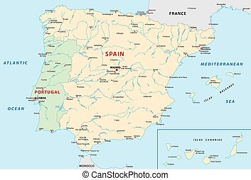 spain,portugal map - spain, portugal vector map