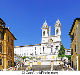 Spain's Square , Rome .Italy - Spain's Square and Church of...