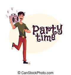 spalla, ballo, giovane, nastro, festa, registratore, uomo
