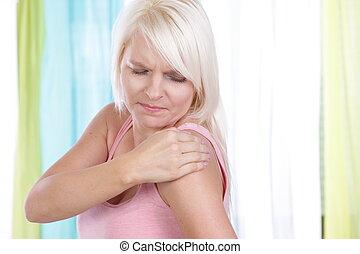 spalla, donna, dolore, giovane