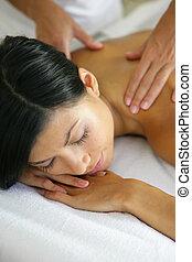 spalla, donna, ricevimento, massaggio