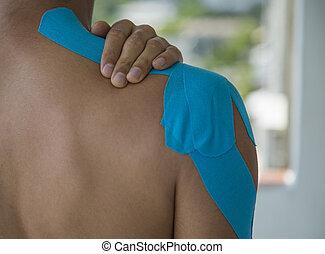 spalla, fasciatura adesiva