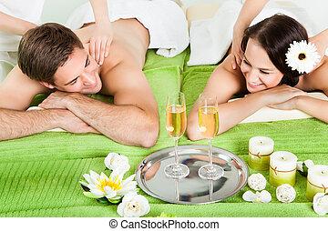 spalla, terme, coppia, godere, massaggio