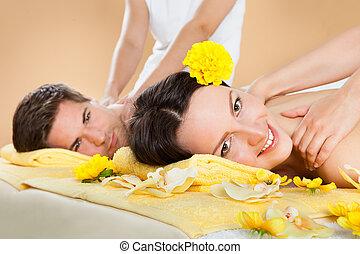 spalla, terme, coppia, ricevimento, massaggio