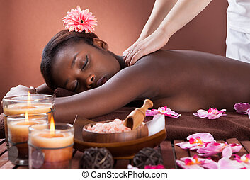 spalla, terme, donna, ricevimento, massaggio