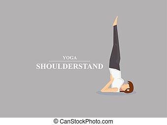 spalla, vettore, posa yoga, illustrazione, asana, stare in piedi, hatha