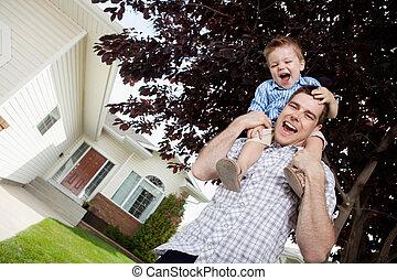 spalle, bambino primi passi, padre, figlio