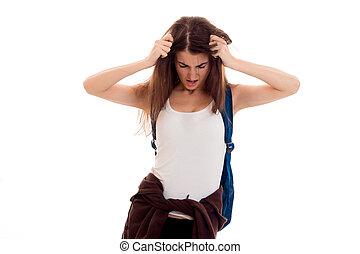 spalle, brunetta, lei, stanco, studenti, zaino, giovane, isolato, proposta, adolescente, fondo, elegante, bianco, vestiti