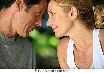 spalle, coppia romantica, testa, dall'aspetto, altro,...