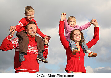 spalle, genitori, bambini